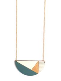 Dubbelzijdige halsketting met gravure donkergroen- goud