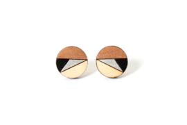 Ronde oorstekers rosé goud- zilver- zwart- natuurkleur (17 mm)