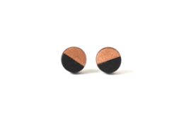 Ronde oorstekers rosé goud- zwart (9 mm)