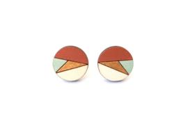 Ronde oorstekers roest- goud- munt- natuurkleur (17 mm)