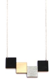 Geometrische halsketting zilver- zwart- natuurkleur