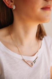 Dubbelzijdige geometrische halsketting zilver- rosé goud