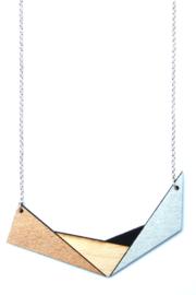 Geometrische halsketting rosé goud- natuurkleur- zwart- zilver