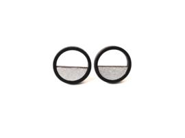 Ronde oorstekers met opening zwart- zilver