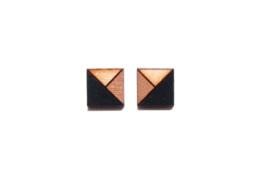 Vierkante oorstekers rosé goud- zwart- natuurkleur