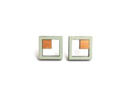 Vierkante oorstekers munt- goud