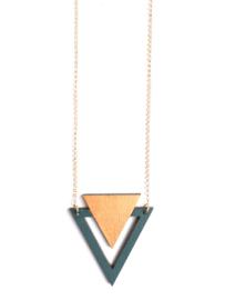 Halsketting driehoek donkergroen- goud