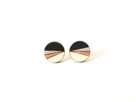 Ronde oorstekers zwart- zilver- rosé goud (12mm)