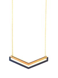 Geometrische halsketting goud- natuurkleur- donkerblauw