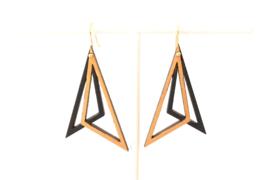 Oorhangers driehoekig goud- zwart