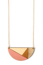Dubbelzijdige halsketting zalmroze- goud