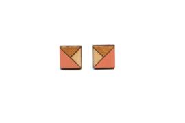 Vierkante oorstekers goud- zalmroze- natuurkleur