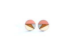 Ronde oorstekers zalm-goud-grijs-natuurkleur (12 mm)