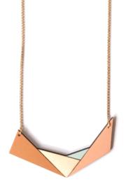 Geometrische halsketting camel, natuurkleur, munt en nude
