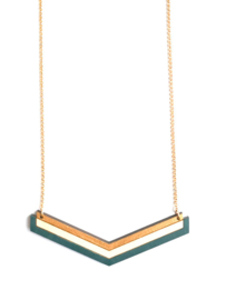 Halsketting goud- natuurkleur- donkergroen