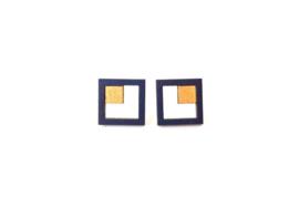Vierkante oorstekers - donkerblauw- goud