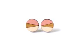 Ronde oorstekers zalmroze- goud- natuurkleur (12mm)