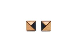 Vierkante oorstekers zwart-goud-natuurkleur