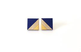 Vierkante oorstekers met gravure - donkerblauw-goud