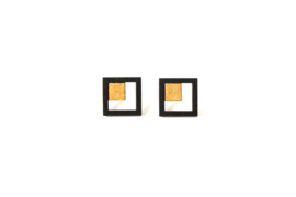 Vierkante oorstekers zwart-goud