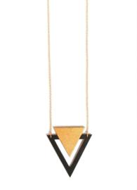 Driehoekige halsketting goud-zwart