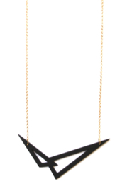 Dubbelzijdige geometrische halsketting zwart- goud