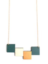 Geometrische halsketting donkergroen- natuurkleur- goud