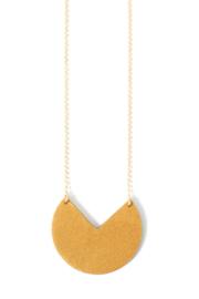 Dubbelzijdige halsketting donkerblauw- goud- munt en natuurkleur