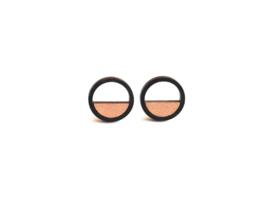 Ronde oorstekers met opening rosé goud- zwart