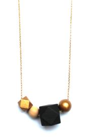 Kralenketting goud- zwart- natuurkleur