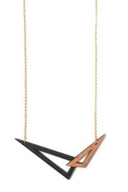 Dubbelzijdige geometrische halsketting zwart-rosé goud