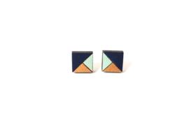 Vierkante oorstekers donkerblauw- munt- goud