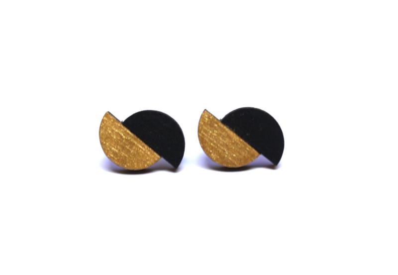Oorstekers goud- zwart