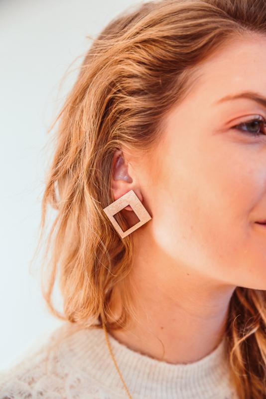 Vierkante oorstekers rosé goud