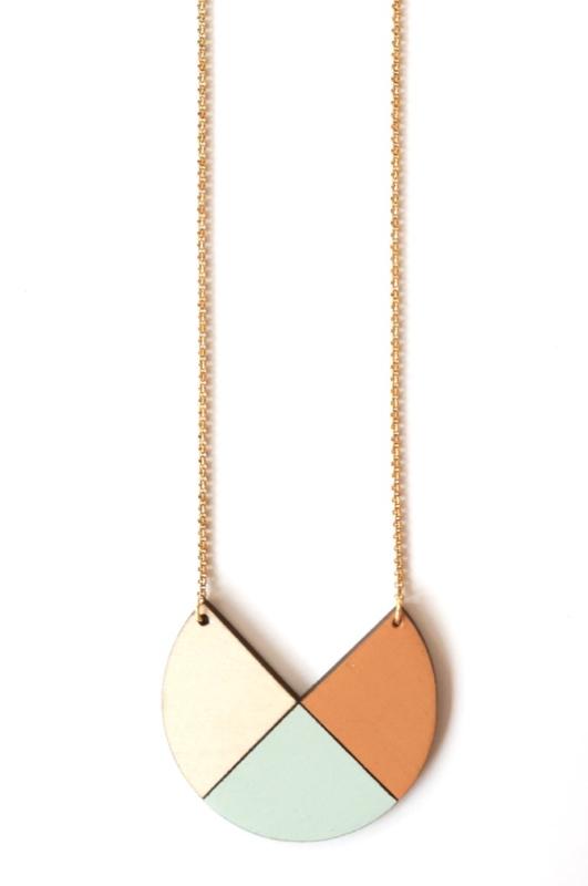 Dubbelzijdige halsketting camel-munt-natuurkleur
