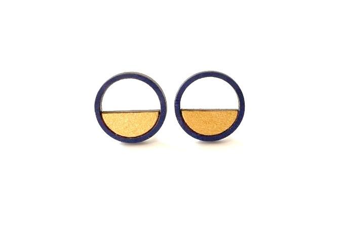 Ronde oorstekers met opening - donkerblauw-goud
