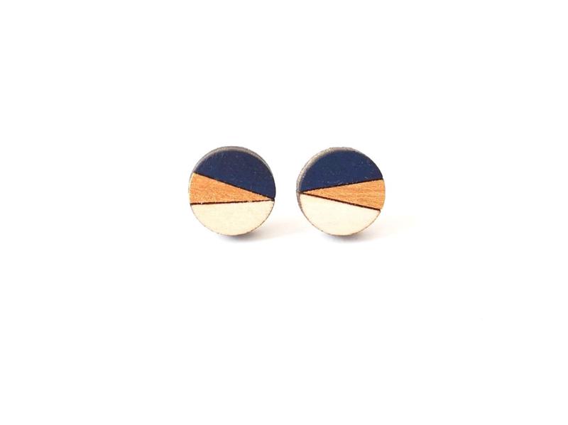 Ronde oorstekers donkerblauw- goud- natuurkleur