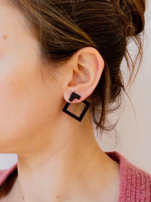 Vierkante oorstekers in 2 laagjes- zwart
