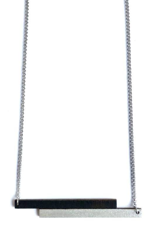 Halsketting 2 staafjes - zwart-zilver