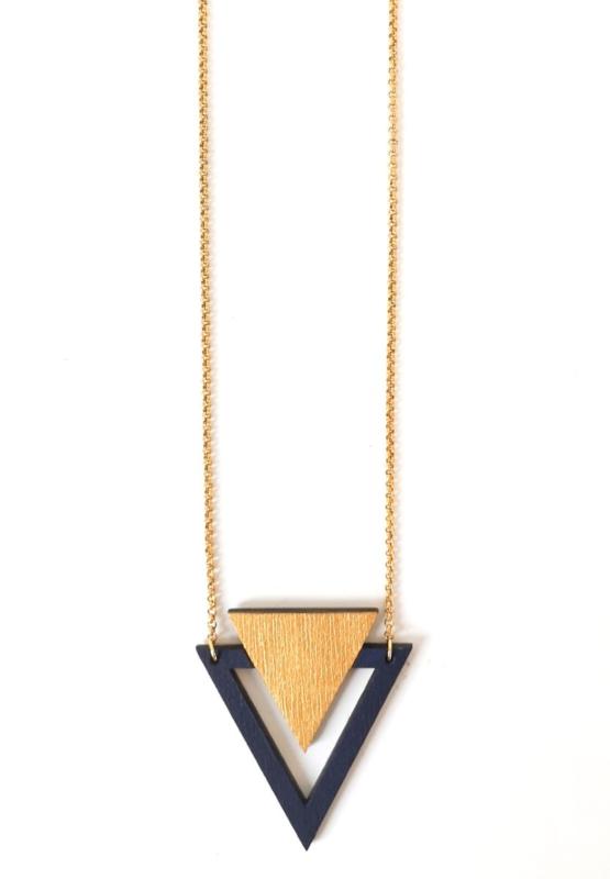 Driehoekige halsketting goud- donkerblauw