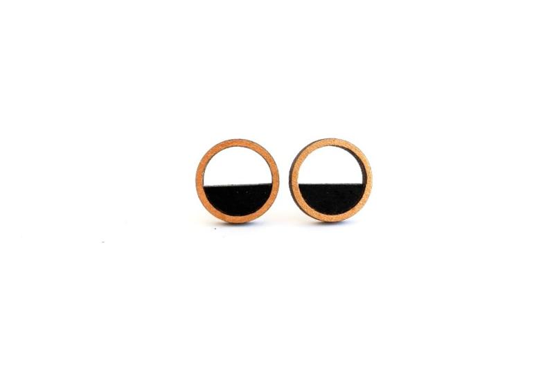 Ronde oorstekers met opening zwart-goud