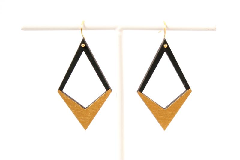 Oorhangers V-vorm zwart- goud
