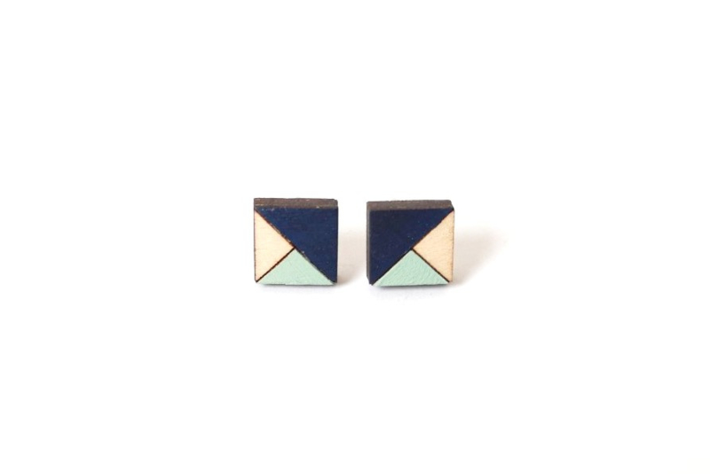 Vierkante oorstekers donkerblauw- munt- natuurkleur