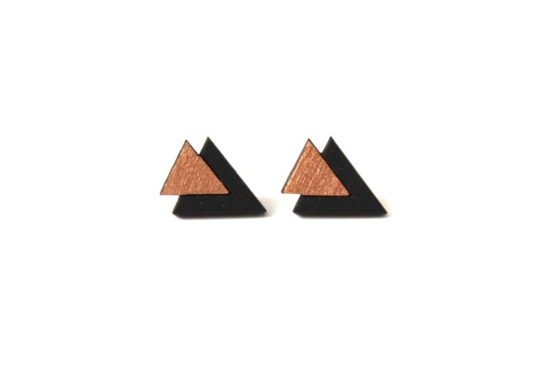 Driehoekige oorstekers rosé goud-zwart