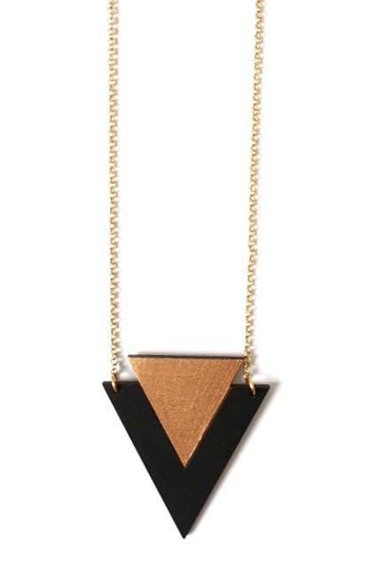 Driehoekige halsketting rosé goud- zwart