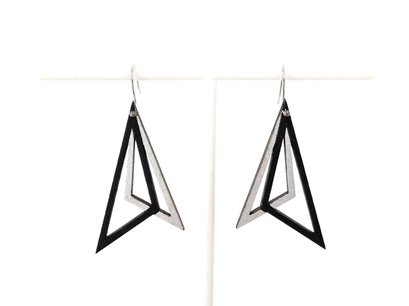 Oorhangers driehoekig zilver-zwart