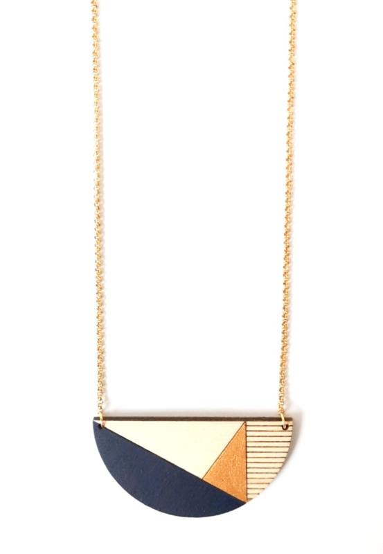 Dubbelzijdige halsketting donkerblauw- goud