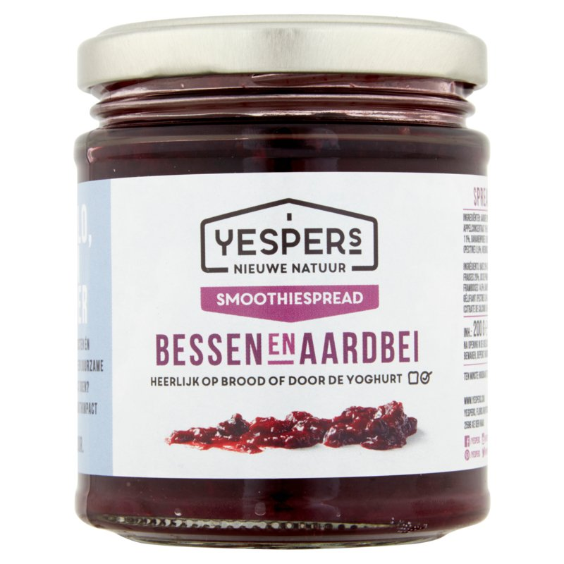 Smoothiespread: Bessen en Aardbei, 200 g per potje