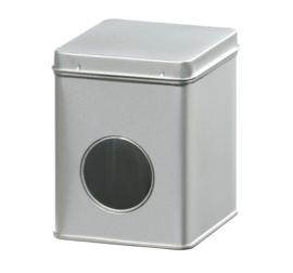 Theeblik zilver met venster 250 gram