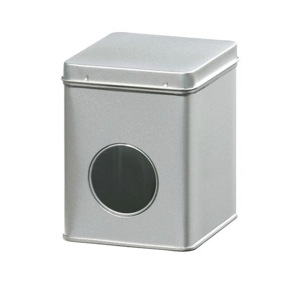 Theeblik zilver met venster 100 gram